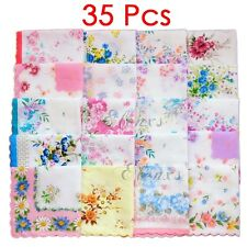 35Pcs New Ladies Child 100% Cotton Flower Vintage Handkerchiefs Quadrate Hankies