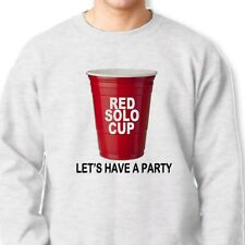 RED SOLO CUP Lets Have A Party Funny Drinking College Humor Crew Sweatshirt