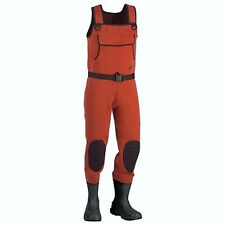 Lady Hodgman Lakestream Neoprene Chest Fishing Waders With Cleated Boots Orange