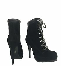 RULER! Women's Sexy Suede Lace Up  Platform High Heel Ankle Bootie in Black