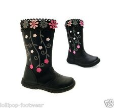 GIRLS BOOTS FAUX LEATHER BLACK FLOWER DETAIL BIKER WINTER FORMAL RIDING SCHOOL