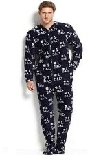 Men's Club Room Fleece Footed Footie Pajamas S M or L Football Dad Beer Skulls
