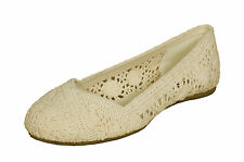 Soda Womens Faddy Crochet Slip-On Ballet Loafer Flats  Beige Flats