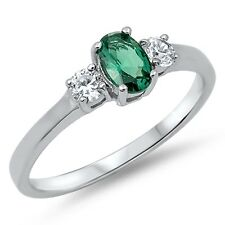 Emerald Oval Cut Genuine Sterling Silver Ring Ring - Sizes 3 - 10