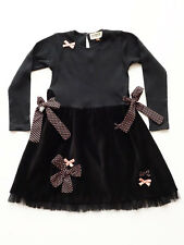 Sophie Catalou Girls Dressy Black Jersey & Cotton Velvet Dress Size 4, 5 $64 NWT