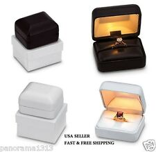 Deluxe Light Box Leatherette-Lighted Ring Box Engagement/Wedding Ring Box. B-10