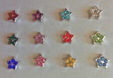 SILVER STAR with Crystal Birthstones floating charm for glass floating lockets