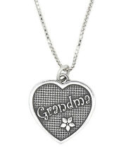 STERLING SILVER GRANDMOTHER GRANDMA HEART PENDANT NECKLACE