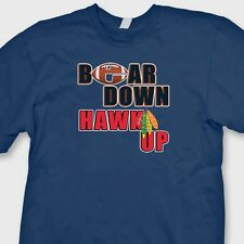BEAR DOWN HAWK UP T-shirt Chicago Bears NFL Blackhawks Tee Shirt