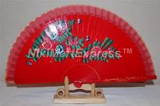 Spanish Flamenco Vintage Style Dance Wooden Folding Hand Held Fan-Flowers w Base