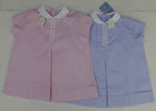 "Girls dress Vintage 1950s UNUSED Dobby check Viyella Royalist Age 2-3 18"" chest"