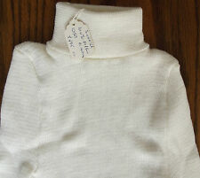 Childrens polo neck jumper UNUSED vintage 1970s ribbed sweater boy girl White