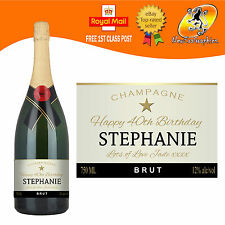 PERSONALISED CHAMPAGNE BOTTLE LABEL BIRTHDAY WEDDING ANNIVERSARY ENGAGEMENT