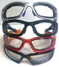 Wind Resistant Goggles Sunglasses Padded Clear Lenses with FREE Storage pouch