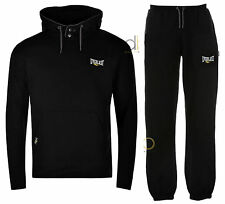 Everlast Mens Tracksuit Black Hoody Jumper & Large Logo Jog Pants ALL SIZES