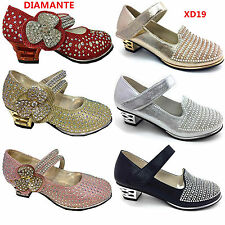 girl infant kids children low heel diamented party shoes in red fushia gold glit