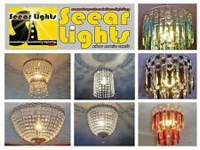* CHANDELIER LIGHT CEILING PENDANT RETRO CRYSTALS GLASS CHIC CHROME LAMP DROPS