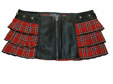 LIP SERVICE PLAID WITH FRONT ZIPPER AND STUDS  RED MINI SKIRT WOMEN US SIZES