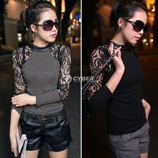DZ88 Fashion Womens Lady Lace T-shirt Long Sleeve Shirt Crew Neck Tops Blouse