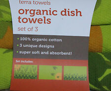 TERRA TOWELS CLOTHS DISH KITCHEN TOWEL 100% Organic Cotton full circle GREEN Tea