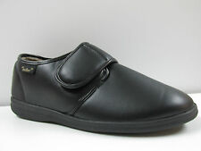 Dr Keller Mens Faux Leather  EXTRA WIDE Fit Cosy Velcro Full Slipper Shoe  Black