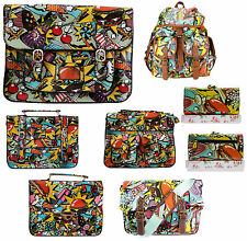 LADIES OILCLOTH COMIC CROSSBODY SATCHEL PURSE RUCKSACK SHOULDER GIRLS SCHOOL BAG