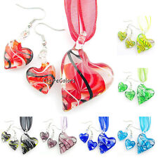Love Heart Swirl Transparent Murano Lampwork Glass Pendant Necklace Earrings Set