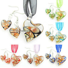 Swirl Love Heart Gold Lampwork Glass Murano Pendant Necklace Dangle Earrings Set