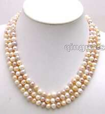 SALE 6-7MM MULTI-COLOR Round Natural Freshwater PEARL 3 STRANDS Necklace-5190