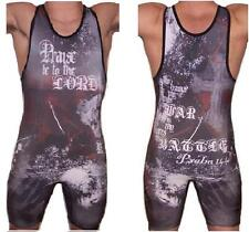Psalm144:1 black wrestling singlet with Crosses,  Youth Kids Men ALL Sz by 4Time