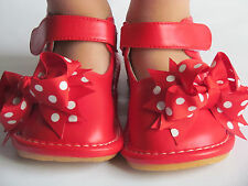 Toddler Shoes - Squeaky Shoes - Red with Dot Bows, Mary Jane, Up to Size 7