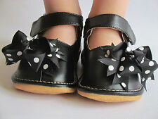Toddler Shoes - Squeaky Shoes - Black with Dot Bows, Mary Jane, Up to Size 7