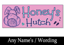 Personalised ANY NAME RABBIT Sign Plaque plate Hutch run cage door garden gift