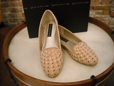 Steve Madden Karry Nude Suede Perforated Jeweled Smoking Loafer NEW