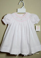 NWT Petit Ami White Pink Smocked Bishop Dress 12 18 24 Months Baby Girls Bloomer