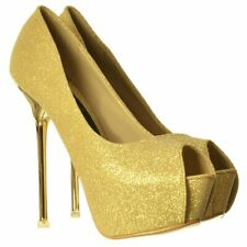 NEW LADIES SPARKLY GOLD SILVER GLITTER PEEP TOE PARTY STILETTO CHROME HEEL SIZE