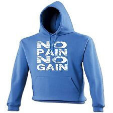 NO PAIN NO GAIN HOODIE ★ gym body building fitness gold's Sex Weights muscle