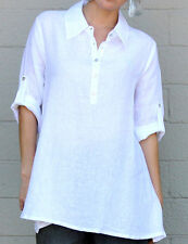 CHALET USA  Flax Linen BETHANY TOP  Long  A-line Button Tunic  S M L XL  WHITE