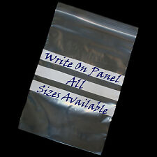 GRIP SEAL BAGS with WRITE ON PANEL Self Seal Resealable Clear Polythene Plastic