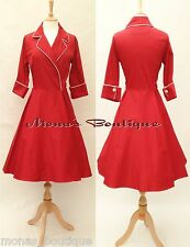 NEW 50'S 60'S VINTAGE SWING ROCKABILLY PARTY TEA WEDDING DRESS RED WHITE 8 - 28