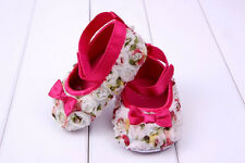 Baby Girls Shoes Rose Bowknot Toddler Infant Shoes Soft Soled Prewalker Sz 4 5 6