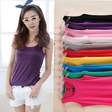 Basic Women Solid Color Ribbed Tank Top Sleeveless Yoga Cami Tee Vest UnderShirt