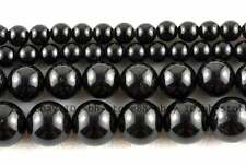 Natural 6、 8、10,12mm Black Tourmaline Round Gemstone Beads 15''