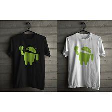 Android eats Apple t-shirt, FUNNY nerd computer geek tee black/white tee