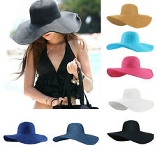 Hot Women's Wide Large Brim Folding Summer Sun Floppy Hat Straw Beach Cap