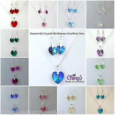Silver Plated Birthstone Jewellery Set Made with Swarovski Crystal Hearts