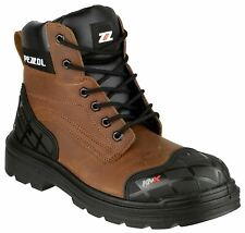 Pezzol Amazon 649 Mens Safety Boots Brown Nubuck Leather Lace Up Hiking Shoes