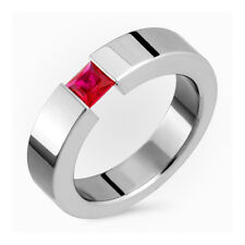 Titanium Ring Ruby Tension Set band Comfort Fit Wedding Band 5mm Wide Polished