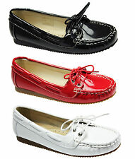 NEW WOMENS LADIES CASUAL LEATHER INSOLE  LOAFER PUMPS BOAT SHOES SIZE 3-8