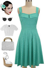 50s Style MINT with White POLKA DOT Fold Over Bust PEGGY SUE Sun Dress